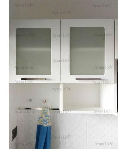 ชุดครัว Built-in ตู้บน โครงปาติเกิล หน้าบาน PVC สีขาวเงา