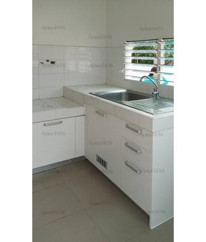 ชุดครัว Built-in ตู้ล่าง โครงซีเมนต์บอร์ด หน้าบาน Melamine สีขาวด้าน - ม.พฤกษ์ลดา