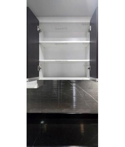 ชุดครัว Built-in ตู้ล่าง โครงซีเมนต์บอร์ด หน้าบาน Melamine สีโอ๊ค