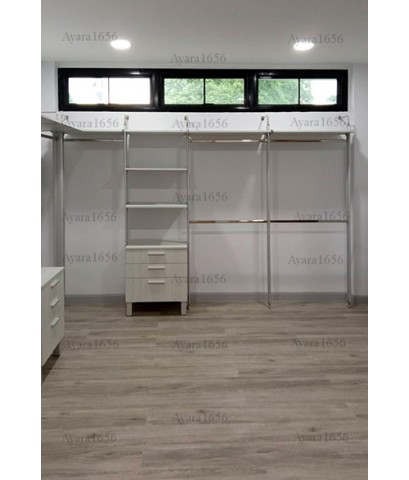 Walk in Closet - L Shape Melamine สี Cassia Siamea