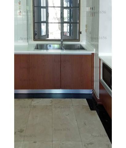 ชุดครัว Built-in ตู้ล่าง โครงซีเมนต์บอร์ด หน้าบาน Melamine สี Pop Walnut