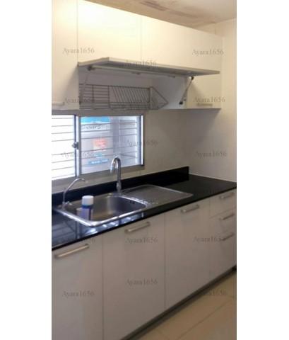 ชุดครัว Built-in ตู้ล่าง โครงซีเมนต์บอร์ด หน้าบาน Melamine สีขาวด้าน - ม.Town Plus