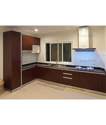 ชุดครัว Built-in ตู้ล่าง โครงซีเมนต์บอร์ด หน้าบาน Melamine สี Walnut - ม.ศุภาลัย ไพรด์