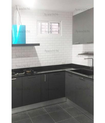 ชุดครัว Built-in ตู้ล่าง โครงซีเมนต์บอร์ด หน้าบาน Laminate สีเทา - บ้านกลางเมือง ดิ เอร่า