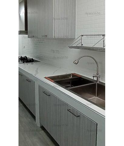 ชุดครัว Built-in ตู้ล่าง โครงซีเมนต์บอร์ด หน้าบาน Melamine สีเทาลายไม้ - ม.คาซ่า เพรสโต้