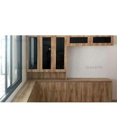 ตู้ TV โครงปาติเกิล หน้าบาน Melamine สี Pine ลายไม้แนวตั้ง
