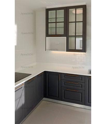 ชุดครัว Built-in ตู้ล่าง โครงปาติเกิล หน้าบาน PVC สีเทาเข้ม เซาะร่อง