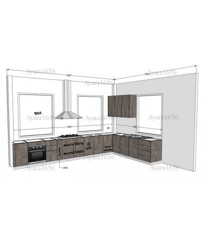 ชุดครัว Built-in ตู้ล่าง โครงซีเมนต์บอร์ด หน้าบาน Laminate สี Mojave ss
