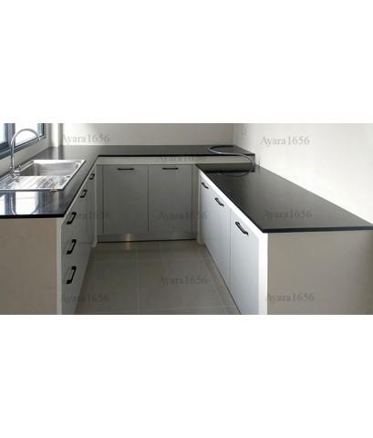 ชุดครัว Built-in ตู้ล่าง โครงซีเมนต์บอร์ด หน้าบาน Hi Gloss สีขาวเงา - ม. Centro