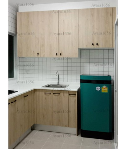 ชุดครัว Built-in ตู้ล่าง โครงซีเมนต์บอร์ด หน้าบาน Melamine สีลายไม้ - ม.Perfect Park