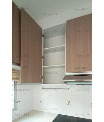 ชุดครัว Built-in ตู้ล่าง โครงซีเมนต์บอร์ด หน้าบาน Melamine สีลายไม้ - ม.ชัยพฤกษ์