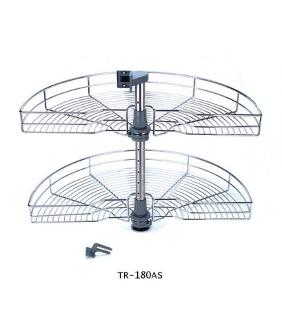 ตะแกรงอเนกประสงค์ สแตนเลส ตู้เข้ามุม ครึ่งวงกลม 2 ชั้น (TR-180AS)