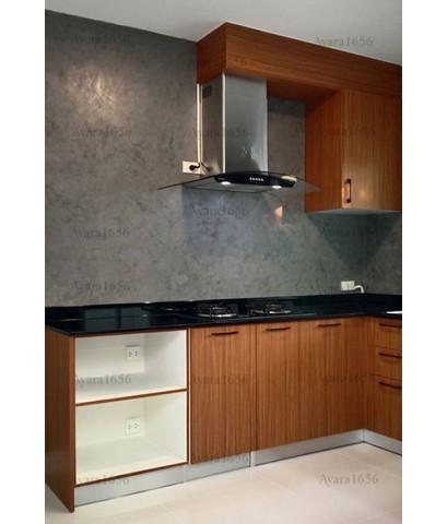 ชุดครัว Built-in ตู้ล่าง โครงซีเมนต์บอร์ด หน้าบาน Melamine สี Pop Walnut ลายไม้ - ม.ภัสสร ไพรด์