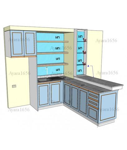 ชุดครัว Built-in โครงซีเมนต์บอร์ด หน้าบาน Hi Gloss สีฟ้าเงา ยกขอบทอง
