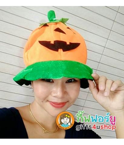 1 ใบ สีส้ม-เขียว หมวกทรงกลม หมวกฟักทอง หมวกหน้าฟักทอง หมวกฟักทองฮาโลวีน Pumpkin Hat Halloween