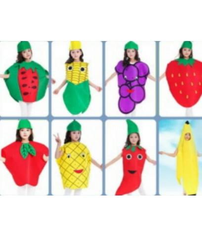 ชุดแฟนซีเด็ก ชุดพริก ชุดผลไม้ ชุดเด็ก ชุดการแสดง ทำจากผ้าใยสำลี ขนาด 55x75 ซ.ม. fruit vegetable suit