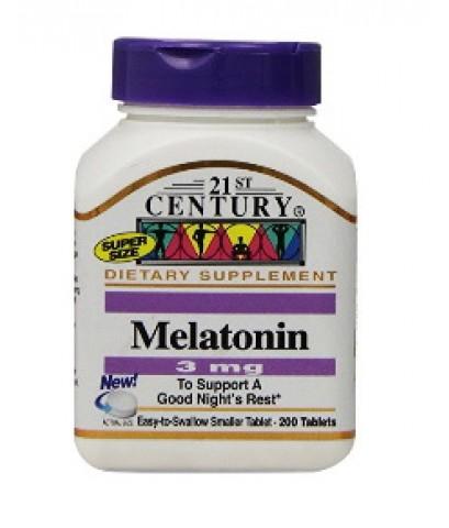 21st Century Melatonin 3 มิลลิกรัม, 200 เม็ด