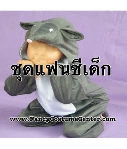 พร้อมส่ง ชุดแฟนซีสัตว์เด็ก ชุดหนู ชุดแฟนซีหนู สีเทา ขนาดเด็กสูง 90-110 cm