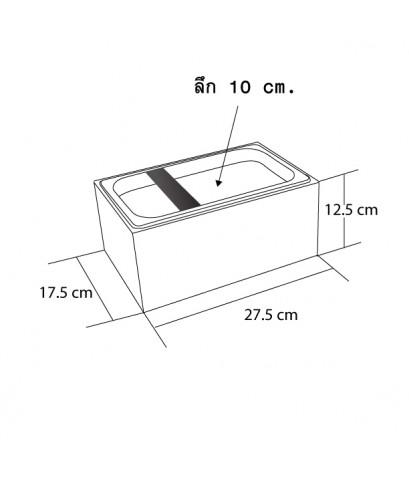 อ่างเคาะกากกาแฟ +กล่องไม้ตั้งอ่างเคาะกาก สูง 12.5 สี่เหลี่ยมผืนผ้า (ไม้สีแดงออกดำ) 1610-527