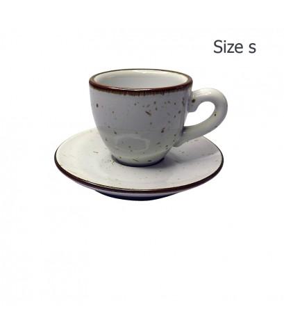 ถ้วยเอสเปรสโซ่ 65 CC. (Size S) ถ้วยกาแฟสีขาวลายจุด พร้อมจานรอง 1618-055