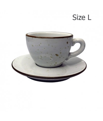 ถ้วยกาแฟ 210 CC. (Size L) ถ้วยกาแฟสีขาวลายจุด พร้อมจานรอง  1618-063