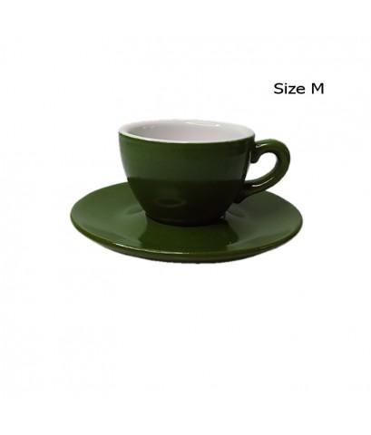 ถ้วยคาปูซิโน่ 155 CC. (Size M) ถ้วยกาแฟสีเขียวใบไม้ พร้อมจานรอง 1618-060