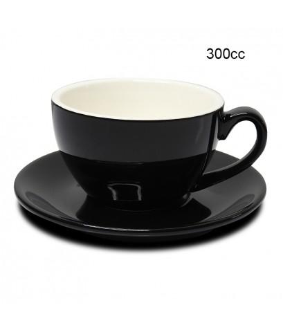 ถ้วยคาปูซิโน่ 300 CC. (Size XL) ถ้วยกาแฟดำ-ขาวข้างใน พร้อมจานรอง 1618-071
