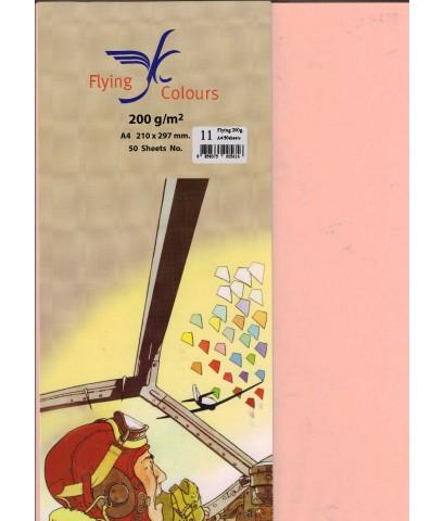 กระดาษทำปก FLYING COLOURS 200 แกรม A4 no.11 สีพีช (50/แพ็ค)