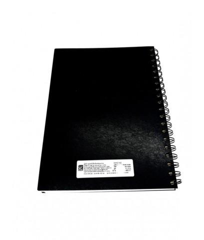 สมุดบันทึกปกแข็งริมลวด ขนาด B5 สีดำ ตราช้าง WHC-102