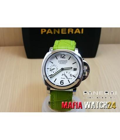 M0164 นาฬิกา Panerai Luminor Power Reserve Lady Boy Size 40 mm. Pam 90  สายเขียว Mirror Case Swiss