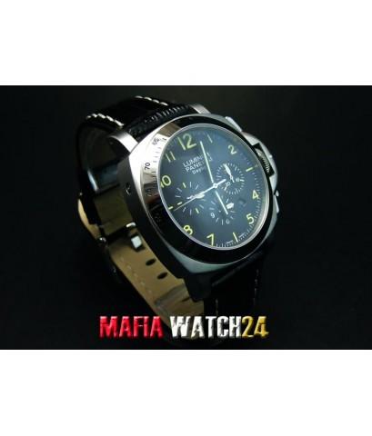 M0232 นาฬิกา PANERAI Luminor Chrono Daylight 44 mm. Black Dial สายดำ PAM 188 King Mirror