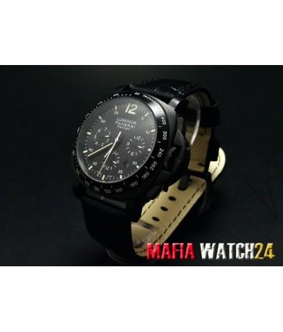 M0289 นาฬิกา PANERAI Luminor Chrono Daylight 44 mm. Black Dial สายดำ PAM 188 King Mirror