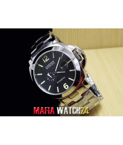 M0390 นาฬิกา Panerai Luminor Power Reserve King Size 44 mm. Pam 90  หน้าปัดดำสายสแตนเลส ใหญ่เต็มข้อ