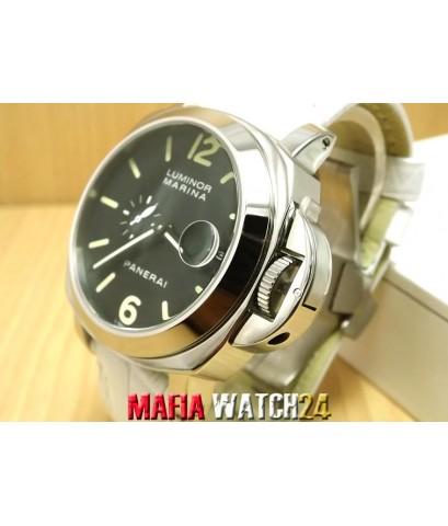 M0420 นาฬิกา Panerai Luminor Marina Lady Boy Size 40 mm.Automatic สายขาวหน้าดำ PAM 048 Mirror A2Plus