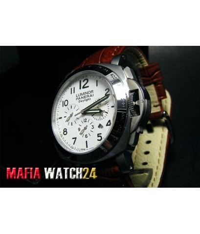 M0441 นาฬิกา PANERAI Luminor Chrono Daylight 44 mm. KingSize White Dial สายน้ำตาล PAM 188 Miror