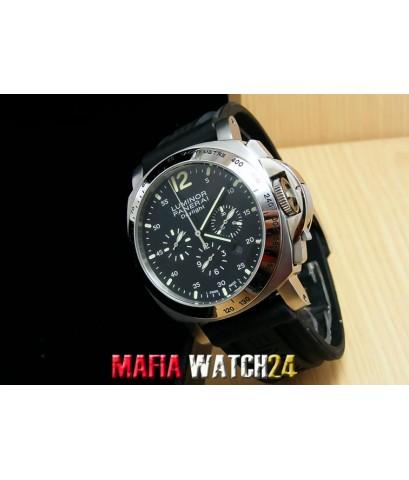 M0453 นาฬิกา PANERAI Luminor Chrono Daylight 44 mm. Black Dial สายยาง