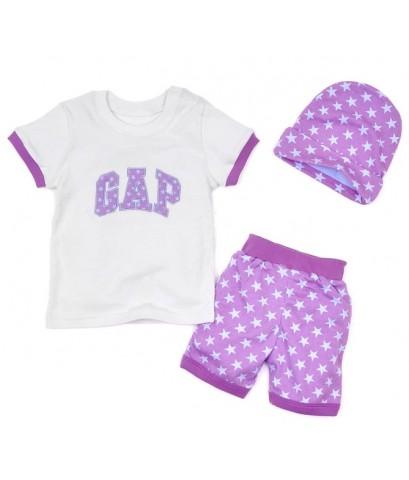 ชุดนอน Baby Gap แขนสั้นขาสั้น สกรีนลายGap สีม่วง พร้อมหมวกน่ารัก ชุดเด็ก Baby Gap เซ็ต 3 ชิ้น