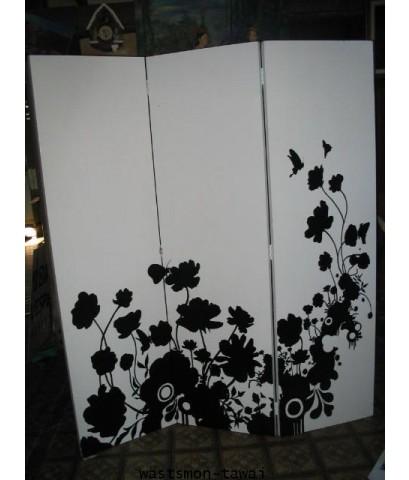 ฉากไม้ วาดรูป 3 พับ Partition Wood carving Partition Spa