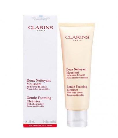 *พร้อมส่ง* Clarins Gentle Foaming Cleanser with Shea Butter for Dry or Sensitive Skin 125ml.