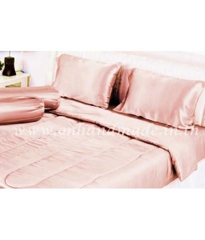 ผ้านวมคลุมเตียงไมโคร ผ้าซาตินแท้ 440 เส้น ขนาด 6 ฟุตพิเศษ (ขนาด 90 นิ้ว x 100 นิ้ว) สีโอรสพาสเทล