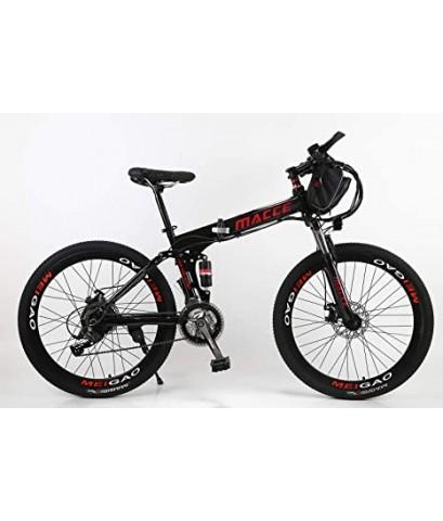 Macce Black 26Inch Folding Electric Mountain Bike Disc Brake 21Speed จักรยานไฟฟ้า เสือภูเขาสีดำ