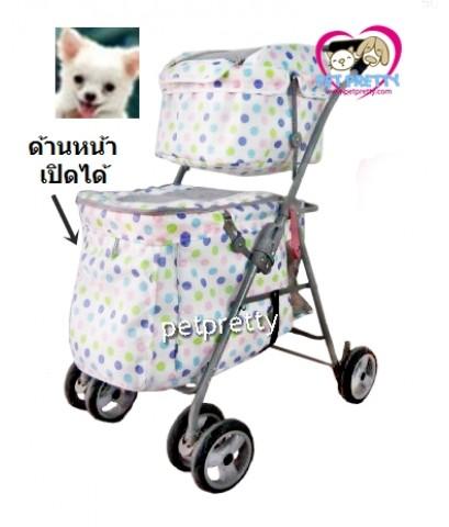 ส่งฟรี รถเข็นสุนัขNo Brand L204 รุ่น1ชั้นครึ่ง รองรับนน.สุนัขรวม15กก (บน5+ล่าง10กก.)มี3สี