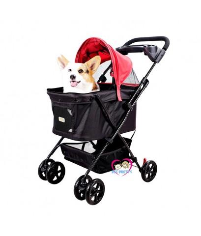 รถเข็นสุนัขIbiyaya  รุ่นEasy Strolling รองรับนน.สุนัข 1-20กก.หลังคาถอดออกได้และเปิดได้สุด สีดำแดง