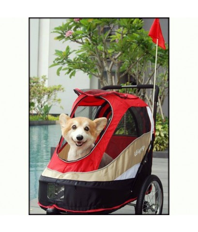 ibiyaya รถเข็นสุนัข คันใหญ่ จูงจยย ได้ จุ30กก. รุ่นS98 ล้อแสตนเลส สูบลมได้  RED (ส่งฟรี)
