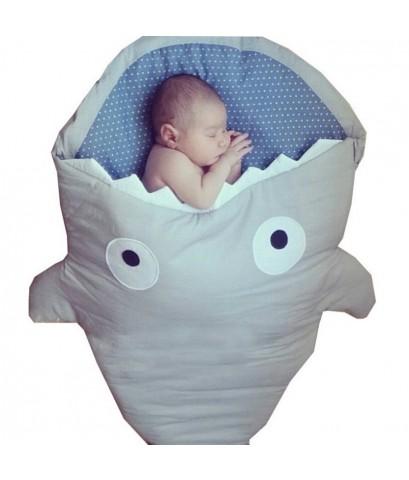 ถุงนอนปลาฉลาม ถุงนอนเด็กรูปปลา  สีเทา