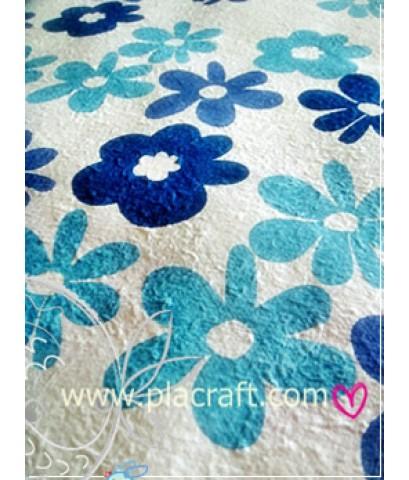 กระดาษสาแบบหนา ลายดอกไม้สีฟ้า