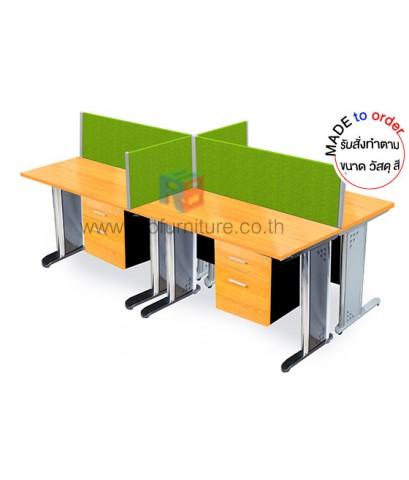 โต๊ะทำงานกลุ่ม 4 ที่นั่ง ขาเหล็ก WORKSTATION พร้อมฉากกั้นบนโต๊ะ ขนาดW240XD120 CM รหัส 2842