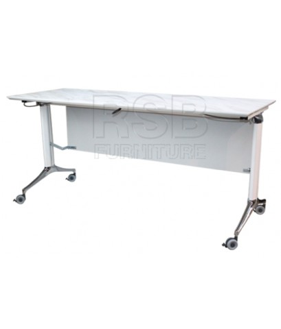 โต๊ะพับล้อเลื่อน โครเงหล็กหนา บังหน้าไม้ รหัส 2859
