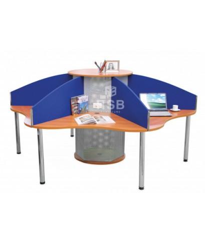 โต๊ะทำงานกลุ่ม CALL CENTER 6 ที่นั่ง พร้อมฉากกั้นบนโต๊ะ ขนาด 265 X 265 CM รหัส 3697