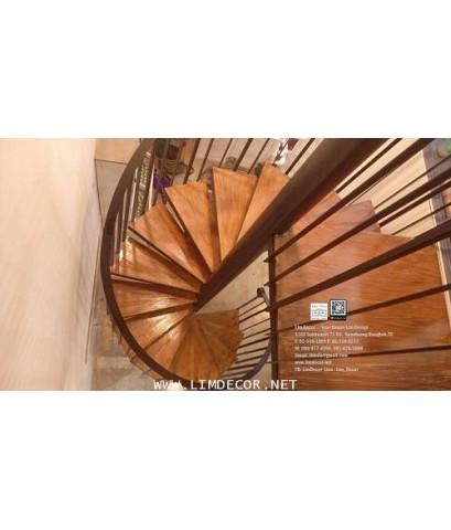 LD–B1283 บันไดวนเหล็กพื้นไม้ระแนง โมเดิร์นโฮม กรุงเทพฯ Metal Spiral Staircase+Rubber Wood